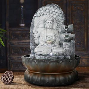 """11 4/5"""" Buddha Tabletop Water Fountain with LED"""